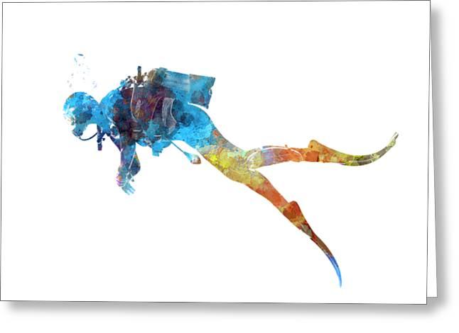 Man Scuba Diver 01 In Watercolor Greeting Card by Pablo Romero
