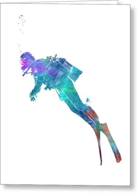 Man Scuba Diver 02 In Watercolor Greeting Card by Pablo Romero