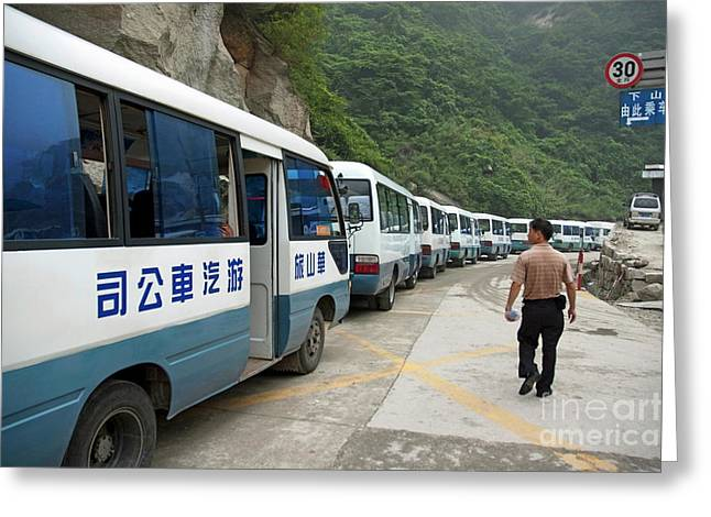 Man Searching Among A Row Of Tourist Buses Parked On Mount Hua Greeting Card by Sami Sarkis