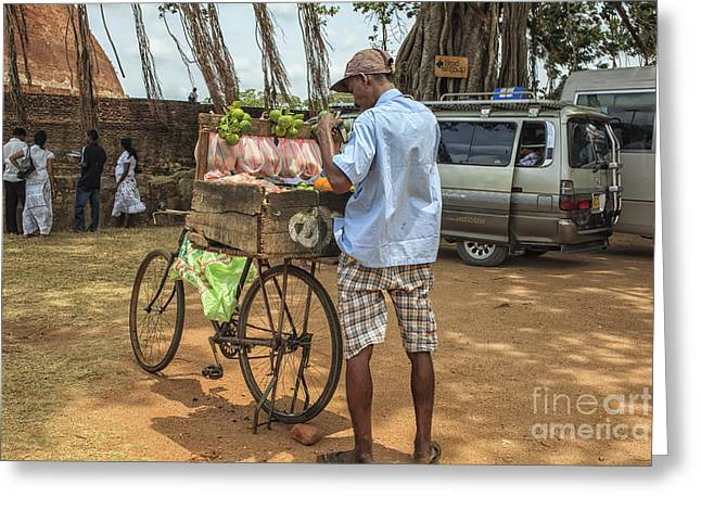 Man Selling Citrus Fruit Greeting Card by Patricia Hofmeester