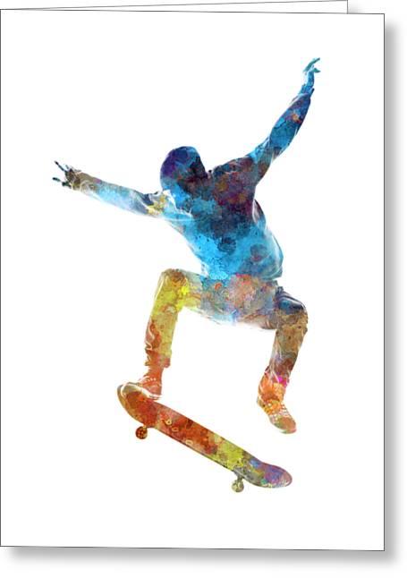 Man Skateboard 01 In Watercolor Greeting Card by Pablo Romero