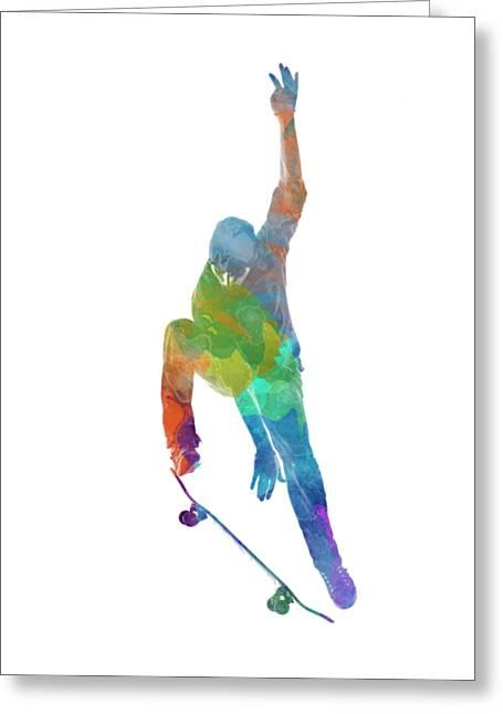 Man Skateboard 04 In Watercolor Greeting Card