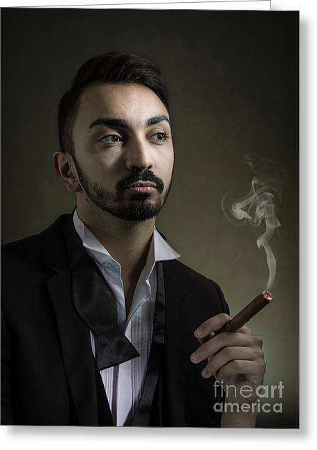 Man Smoking A Cigar Greeting Card
