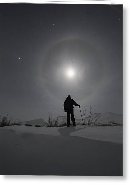 Man Snowshoeing Along The Dempster Greeting Card by Robert Postma