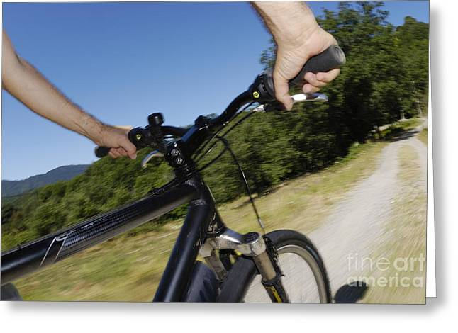 One Mature Man Only Greeting Cards - Man speeding on mountain bike  Greeting Card by Sami Sarkis