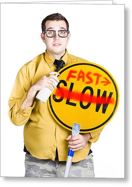Man Speeding Up Process Greeting Card by Jorgo Photography - Wall Art Gallery