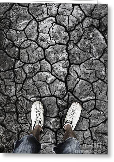 Man Standing In Drought Stricken Australia  Greeting Card by Jorgo Photography - Wall Art Gallery
