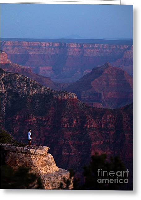 Man Standing On The Edge Greeting Card
