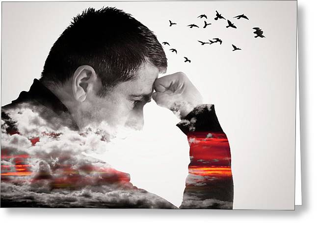 Man Thinking Double Exposure With Birds Greeting Card