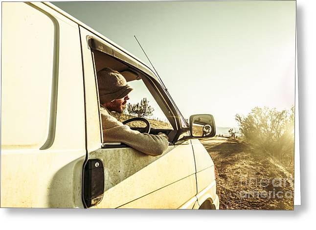 Man Touring Australia In Van Greeting Card by Jorgo Photography - Wall Art Gallery