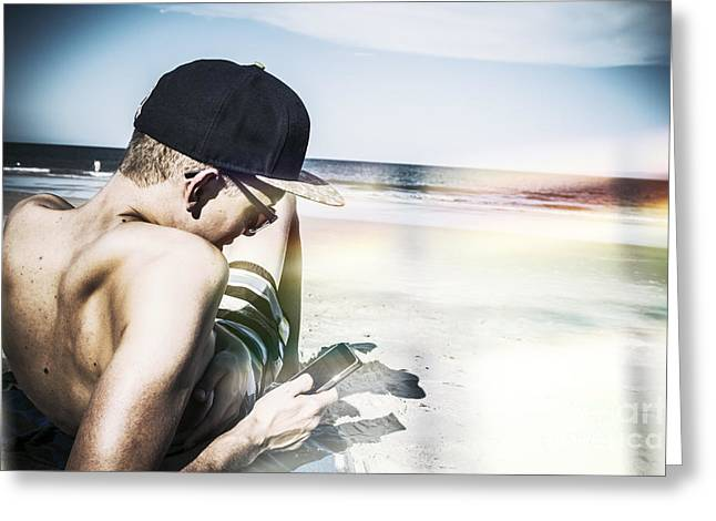Man Using Mobile Smart Phone Technology Greeting Card by Jorgo Photography - Wall Art Gallery
