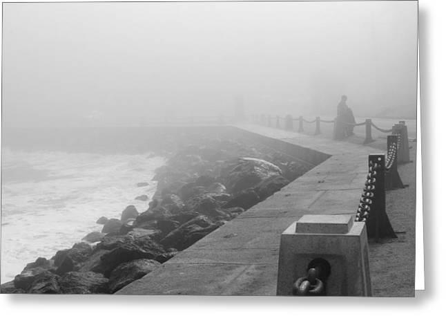 Man Waiting In Fog Greeting Card