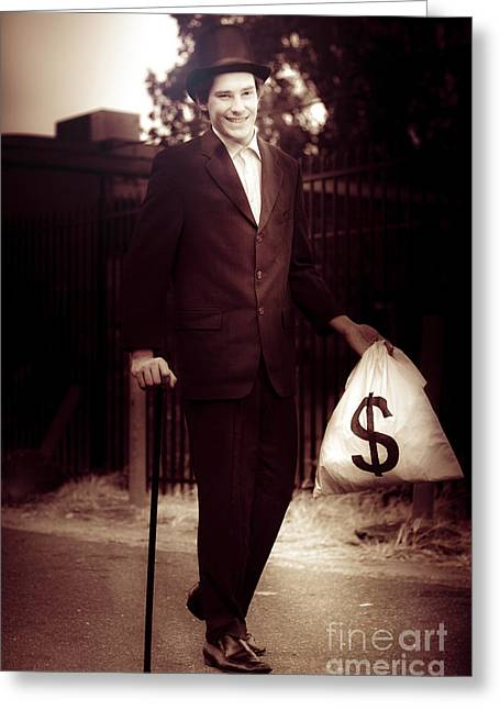 Man Walking The Streets Of Wealth And Prosperity Greeting Card by Jorgo Photography - Wall Art Gallery