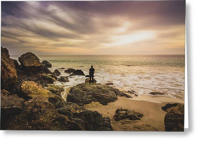 Man Watching Sunset In Malibu Greeting Card