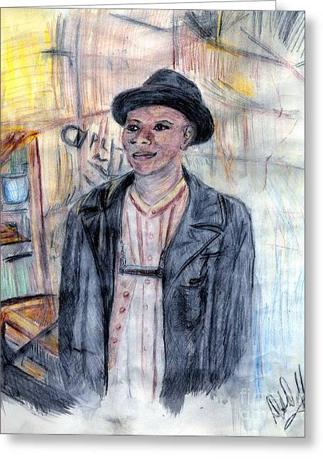 Man With A Harmonica Greeting Card by Deborah Duffy