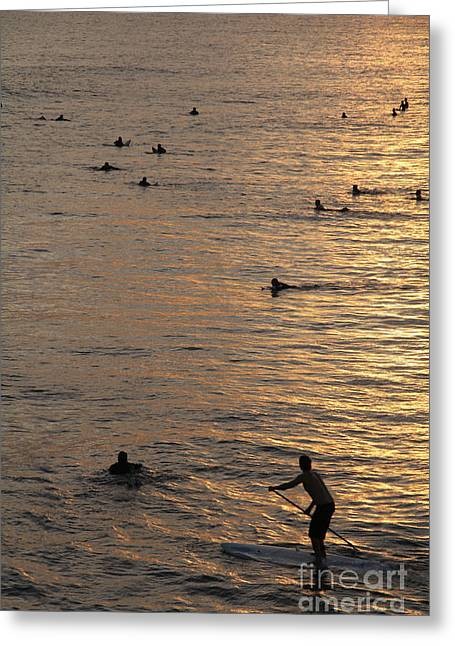 Man With A Paddle Huntington Beach Greeting Card