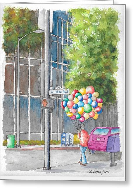 Man With Balloons In Wilshire Blvd., Beverly Hills, California Greeting Card by Carlos G Groppa