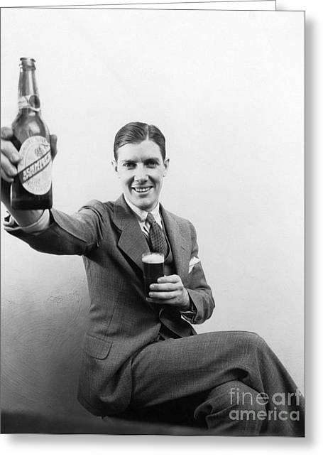 Man With Beer, C.1930s Greeting Card