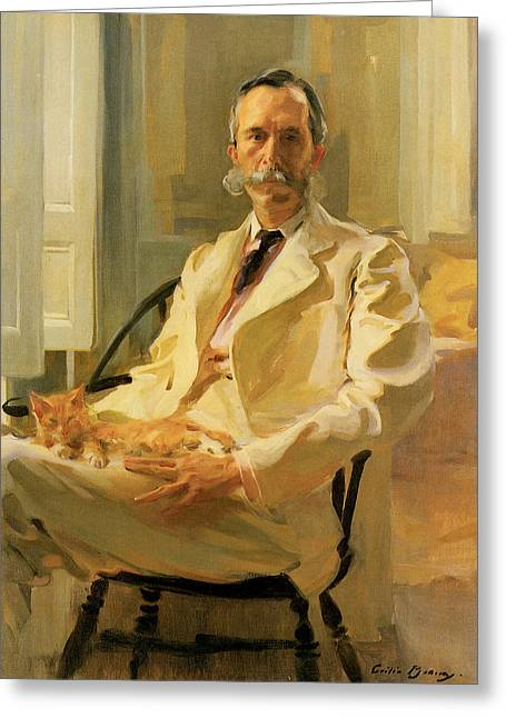 Cecilia Greeting Cards - Man With Cat Greeting Card by Cecilia Beaux
