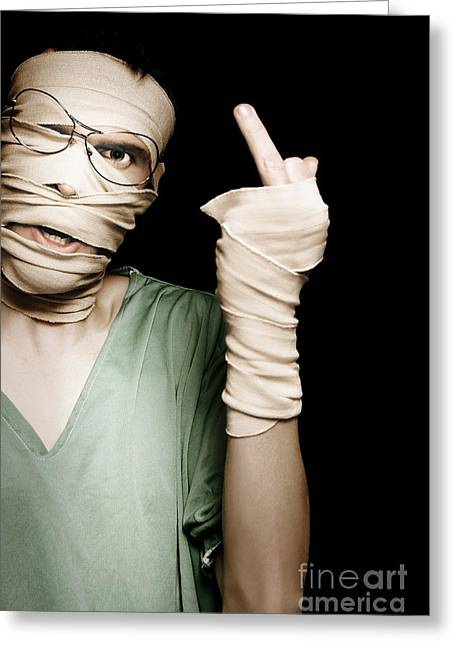 Man With Head Trauma Giving Rude Finger To Accused Greeting Card by Jorgo Photography - Wall Art Gallery