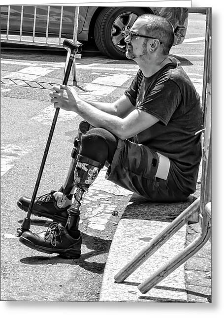 Man With Prosthetic Leg Disability Pride Parade Nyc 2016 Greeting Card by Robert Ullmann
