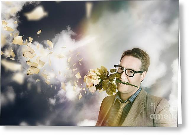 Man With Valentines Day Love And Romance Greeting Card by Jorgo Photography - Wall Art Gallery