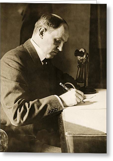 Man Writing At His Desk Greeting Card by Underwood Archives