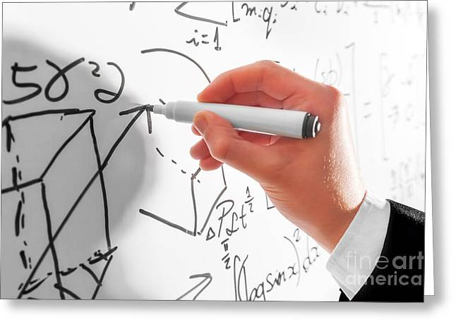 Man Writing Complex Math Formulas On Whiteboard. Mathematics And Science Greeting Card