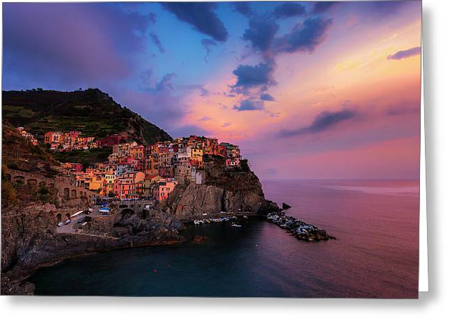 Manarola At Dusk Greeting Card