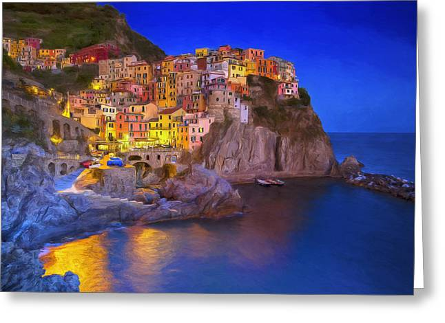 Manarola By Moonlight Greeting Card