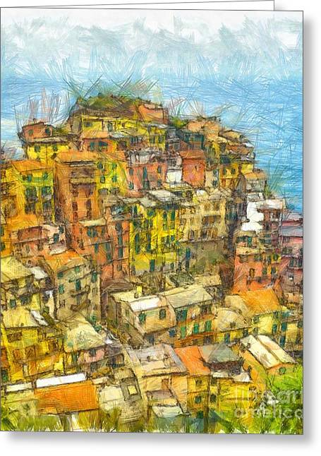 Manarola Cinque Terra City Pencil Greeting Card by Edward Fielding