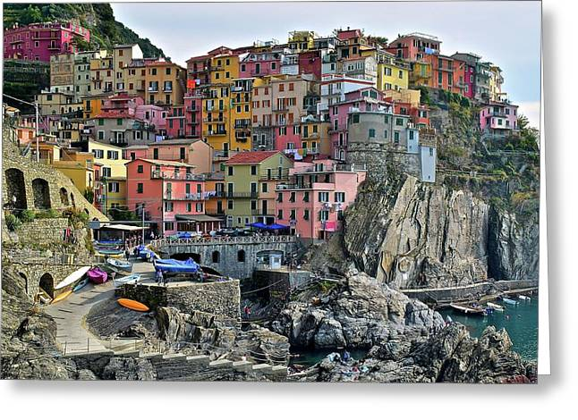 Greeting Card featuring the photograph Manarola Cinque Terre Italy by Frozen in Time Fine Art Photography