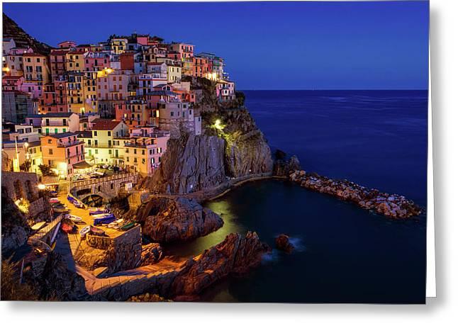 Manarola Cinque Terre Italy Nightfall Greeting Card by Joan Carroll