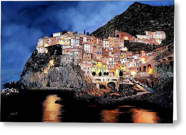 Manarola Di Notte Greeting Card