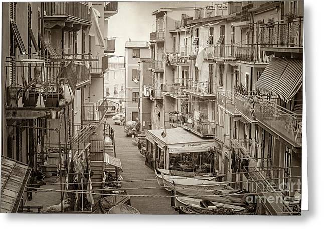 Manarola In Sepia Greeting Card
