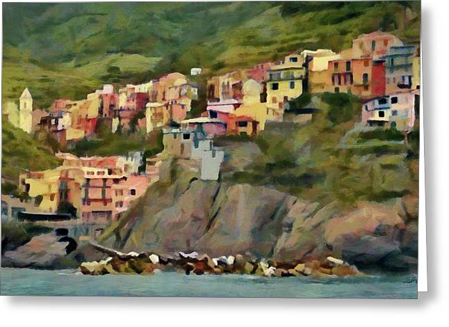 Greeting Card featuring the painting Manarola by Jeff Kolker