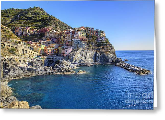 Manarola Greeting Card by Spencer Baugh