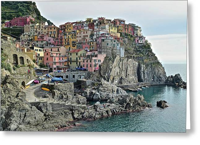 Greeting Card featuring the photograph Manarola Version Three by Frozen in Time Fine Art Photography