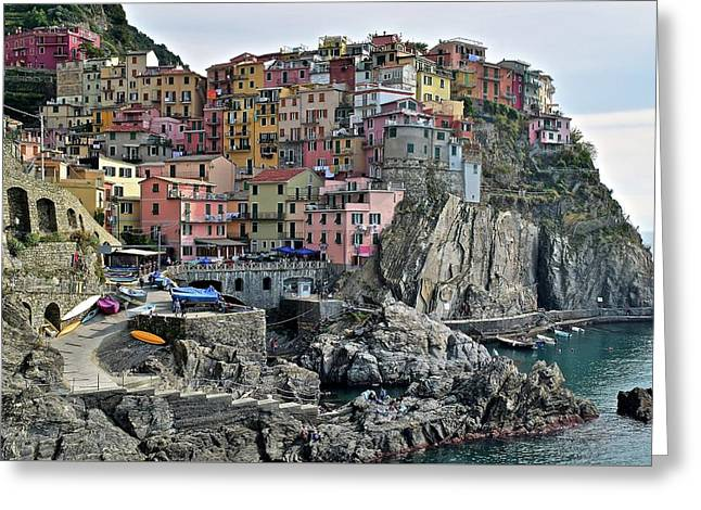 Greeting Card featuring the photograph Manarola Version Two by Frozen in Time Fine Art Photography