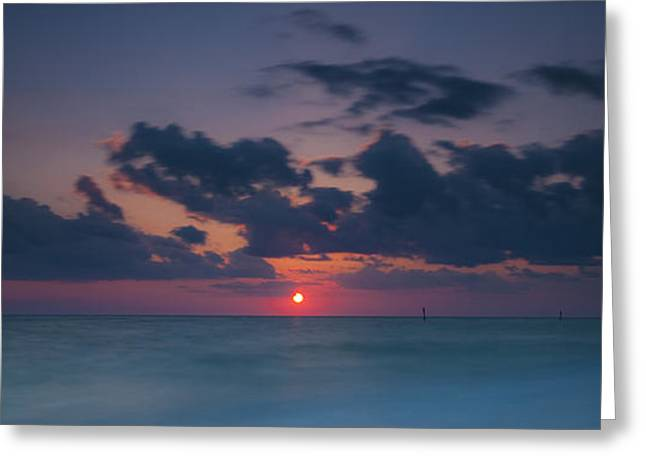 Manasota Sunset Greeting Card by Ryan Heffron