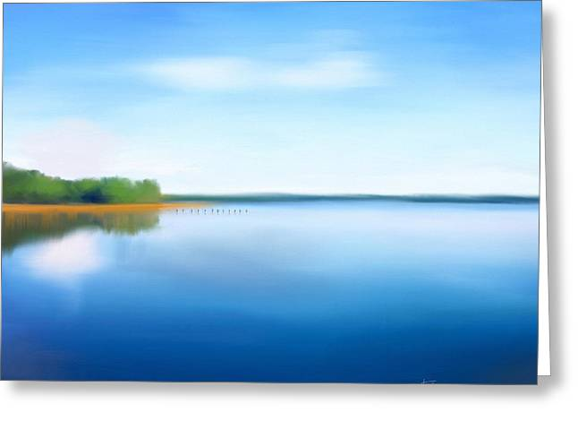 Greeting Card featuring the painting Manasquan Reservoir by Catia Lee