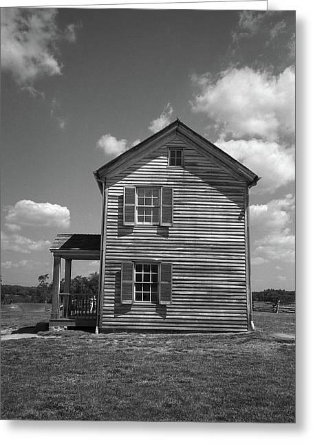 Greeting Card featuring the photograph Manassas Civil War Battlefield Farmhouse Bw by Frank Romeo