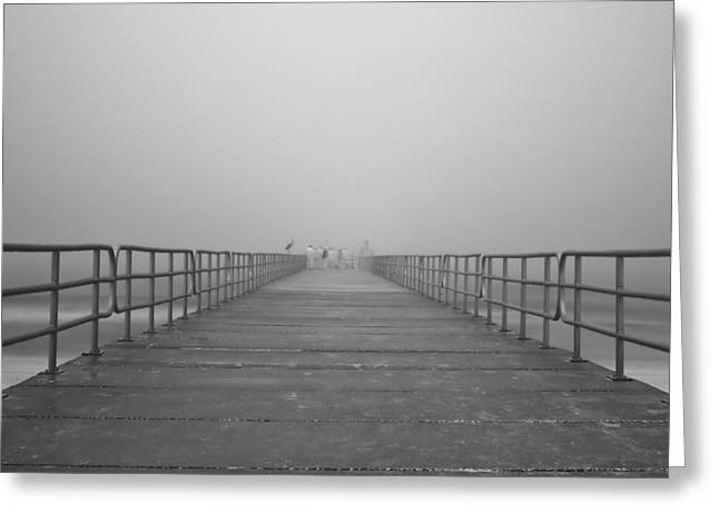Manatee Beach Pier In Fog Infrared 39 Greeting Card by Rolf Bertram