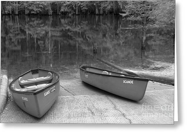 Manatee Springs Black And White Boat Launch Greeting Card by Adam Jewell