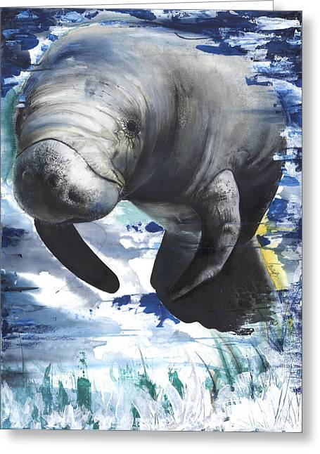 Manatees Greeting Card by Anthony Burks Sr