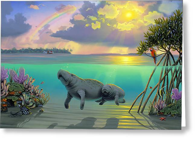 Manatees Greeting Card by MGL Meiklejohn Graphics Licensing