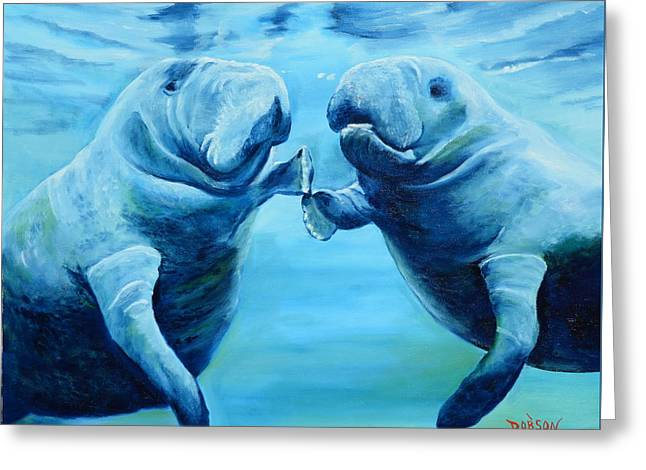 Manatees Socializing Greeting Card