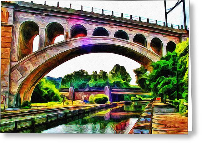 Phillies Digital Greeting Cards - Manayunk Canal and Bridge Greeting Card by Bill Cannon