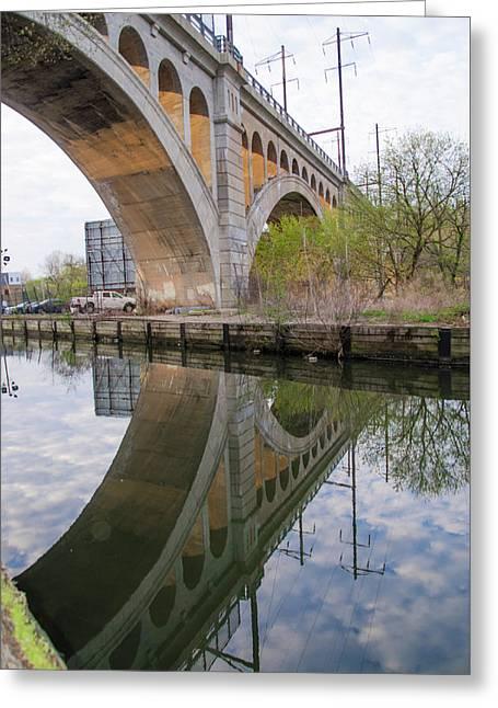 Manayunk Canal Bridge Reflection Greeting Card