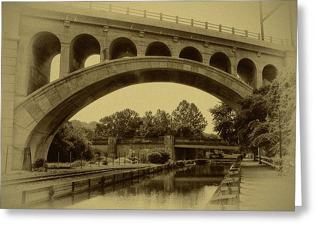 Main Street Greeting Cards - Manayunk Canal in Sepia Greeting Card by Bill Cannon